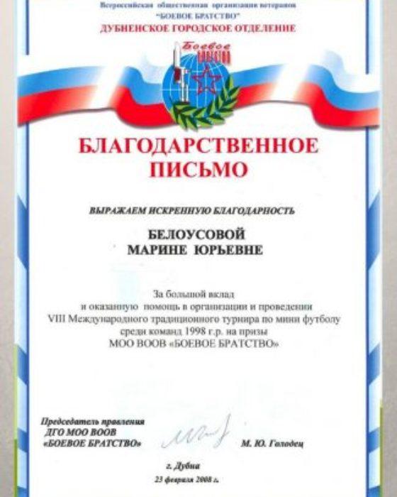 VIII Международный традиционный турнир по мини футболу на призы МОО ВООВ «Боевое Братство», 2008
